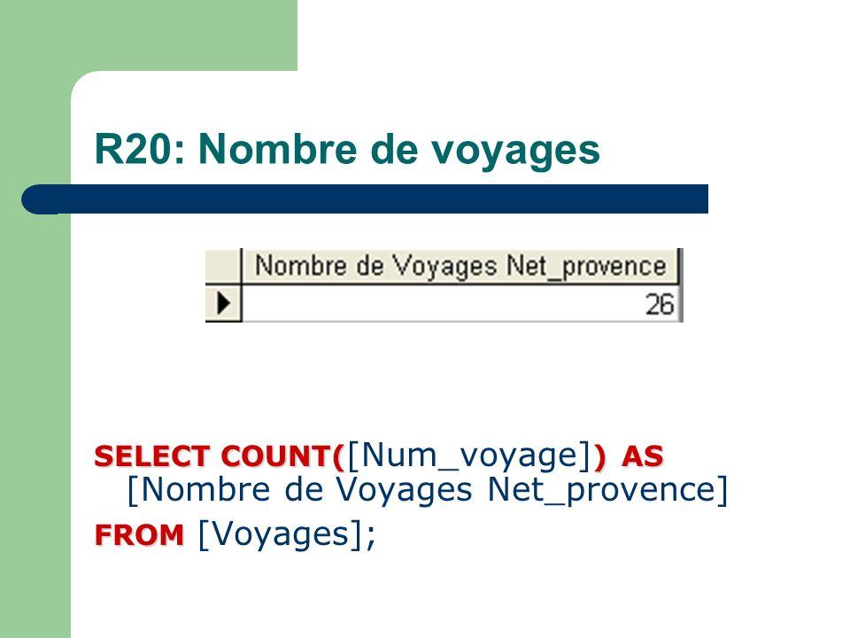 R20: Nombre de voyages SELECT COUNT([Num_voyage]) AS [Nombre de Voyages Net_provence] FROM [Voyages];